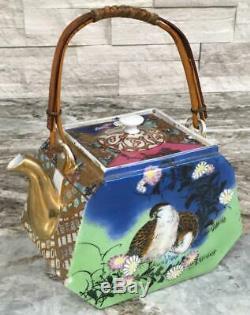 Rare Meiji Period Japanese Teapot Satsuma Dai Nippon moriage birds hand painted