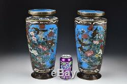 Rare Monumental Japanese Cloisonne Vases with Figures Meiji Period