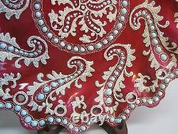 Rare NIPPON PLATE in Red with Moriage & Turquiose Jewels c. 1890 antique Japanese