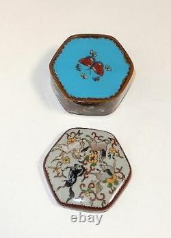 Rare Old Japanese Cloisonne Enamel Horses And Phoenix Birds Hexagon Box