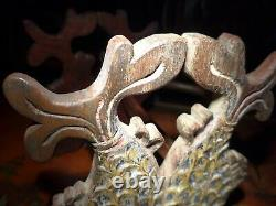 Rare Old Unusual Polychrome Japanese Samurai Chinese Sword Stand Rack Kake Fish