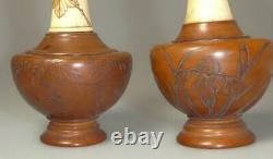 Rare Pair Bovine Bone + Bamboo Vases Chinese Japanese Signed Shou