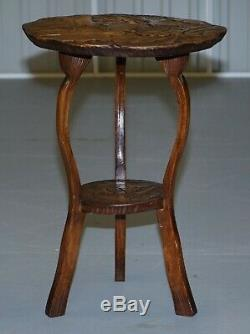 Rare Round Circa 1905 Liberty's London Japanese Carved Side End Lamp Wine Table