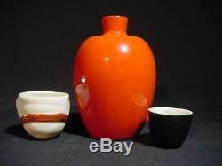 Rare Shunga Japanese Erotic Art Daruma Okame Sake Set Tokkuri & 2 Cups Kutani