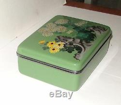 Rare Silver Large Japanese Cloisonne Green Enamel Kiku No Mon Floral Jar Box