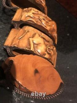 Rare Vintage Japanese Hand Carved Boxwood Inro Netsuke Box (Rats Lucky)