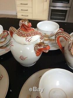 Rare Vintage Japanese Satsuma Porcelain Tea Set Lithopane Geisha Girl In Cup