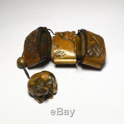 Rare Wooden Tiger Inro Netsuke Ojime bead sign Japanese antique vintage Japan
