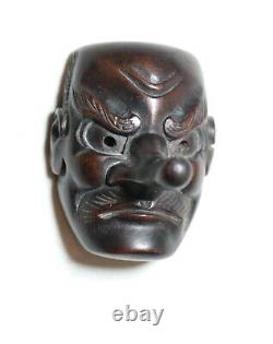 Rare antique handmade 1800's Japanese Edo boxwood Noh mask inro netsuke man wood