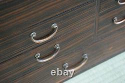 Rare early C20th Japanese Ebony Veneered Haribako/Sewing Box not/vanity/chinese