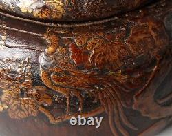 Rare early wooden Koro, incense burner, decorated with Makie lacquer AA88