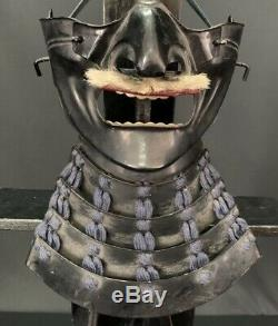 Rare japanese antique armor menpo face cheek black kabuto