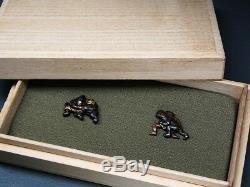 Rare motif SUMO Gods MENUKI 18-19thC Japanese Edo Antique for Koshirae f314