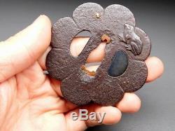 Rare motif & form Frog TSUBA 18-19thC Japanese Edo Samurai Koshirae Antique F839