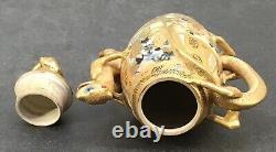 Rare shape Japanese Meiji Satsuma Teapot with Lizards