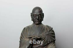 Rare signed Buddhist Sculpture of Kobo daishi 19th c HH67