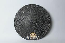 Rare woven Ajiro samurai Hat Jingasa with original dated bag Edo, 18-19 thc FF99