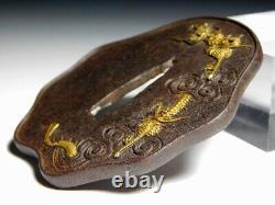 SUPERB Rare Form MITO-School Dragon TSUBA Japanese Original Edo Sword Antique