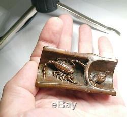 Signed Meiji Antique Japanese Miniature Bronze Trick Okimono, Very Rare, c. 1900