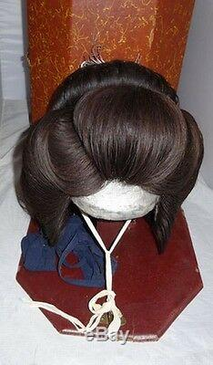 Super Rare Japanese Antique Good Vintage Maiko Geisha Wig With Case Box Kimono