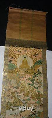 Super Rare Japanese Edo Period Buddhist Hanging Scroll Hand Painted Buddha God