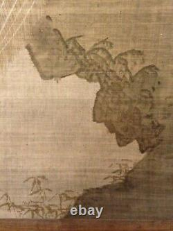 TRES RARE ANTIQUE ART PAINTING TISSU JAPANESE PEACOCK XVIIIe-XIXe PAON