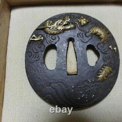 Tsuba Sukashi Edo antique vintage rare samurai sword katana yoroi Ancient art