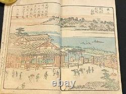 Ukiyo-e Japanese Woodblock Print Book Ehon UJIGAWA River 1806 Edo Period Rare