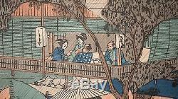 Utagawa Hiroshige, Evening Rain at Tadasugawara, Kyoto Woodblock, Framed RARE