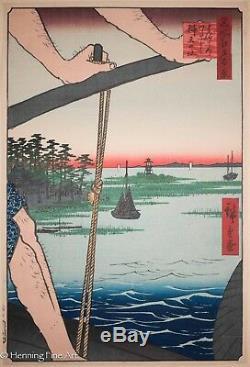 Utagawa Hiroshige Original Wood Block Haneda Ferry 100 Views of Edo, RARE