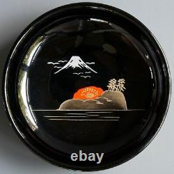 VTG NTS Black Lacquer Hand Painted Wood Japanese 7 Bowl Set with RARE Fork Spoon