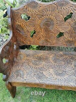Very Rare Liberty's Of London Japanese Carved 2 Seater Sunflower C1900