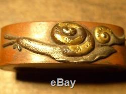 Very Rare Snails Japanese Samurai Sword Fittings Kashira Fuchi Tsuba Menuki