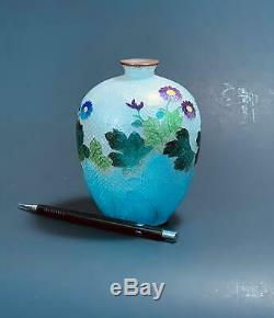 Very Rare and Beautiful Japanese Antique Ginbari Cloisonne Vase