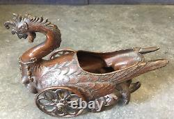 Very Unusual Nice Antique Japanese Bronzed Cast Metal Rooster Wheels Bowl Rare