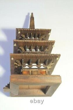 Vintage Japan Fuji Mountain Pagoda Temple Tower Hand Carved Wood Statue Rare