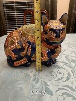 Vintage Porcelain Japanese Kutani Moriage Cat Rare seated & awake