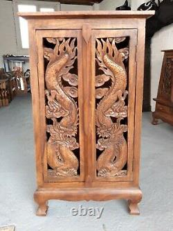 Vintage Rare Ornate Japanese Dragon Style Cupboard