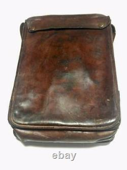 WWII Japanese army soldier's Leather Bag genuine Antique Rare F/S
