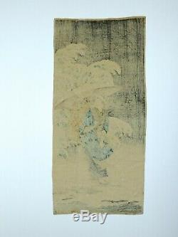 Woodblock by Takahashi Shotei Spring Snow Rare Crepe Chirimen Version