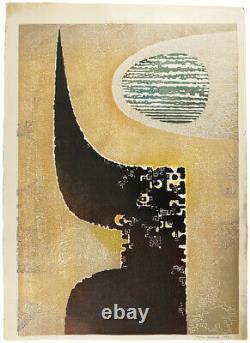 Yoshida Toshi Japanese Woodblock print Two Material RARE